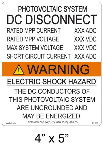 Warning Electric Shock Hazard - .040 Aluminum - Item #07-690
