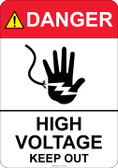 Danger High Voltage Keep Out, #53-301 thru 70-301