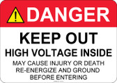 Danger Keep Out, High Voltage Inside - #53-312 thru 70-312