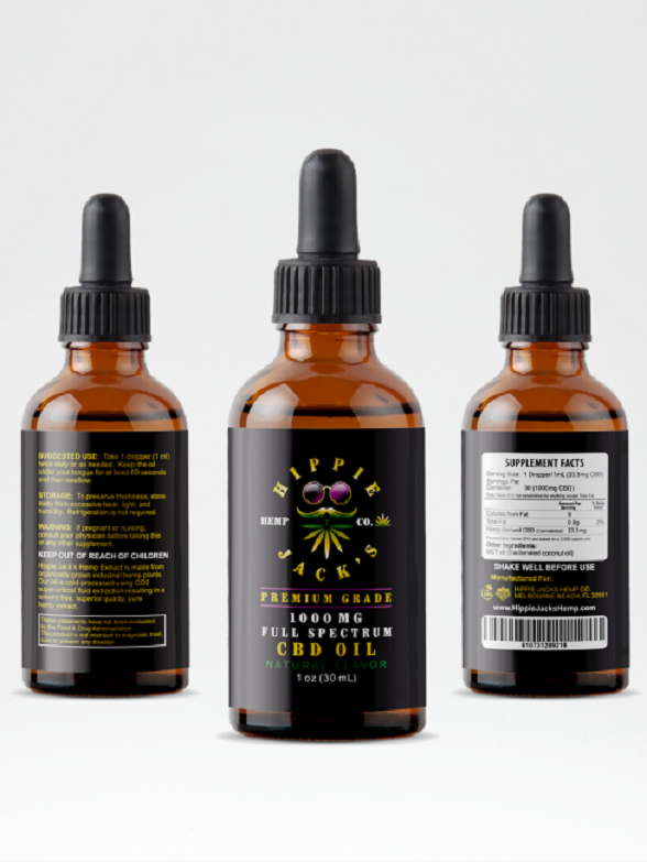 Hippie Jack's CBD Oil 1000 - Free Shipping