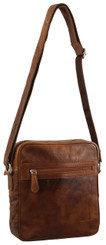 PIERRE CARDIN RUSTIC LEATHER BAG - COGNAC