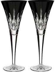 Waterford Crystal Lismore Black Flute Pair