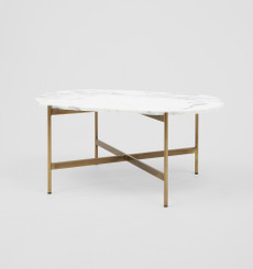 Rhonde Marble Coffee Table - Brass with Oval Top