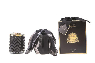 COTE NOIRE - HERRINGBONE CANDLE WITH SCARF - BLACK - RED BEE LID 600g CANDLE
