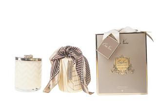 COTE NOIRE HERRINGBONE CANDLE WITH SCARF BLOND VANILLA - CREAM & GOLDEN BEE LID 600g CANDLE