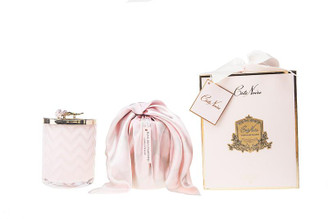 COTE NOIRE - HERRINGBONE CANDLE WITH SCARF - PINK - PINK ROSE LID 600g CANDLE