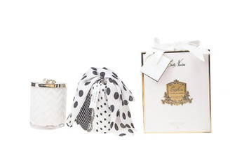 COTE NOIRE - HERRINGBONE CANDLE WITH SCARF - WHITE - LILLY FLOWER LID 600g CANDLE