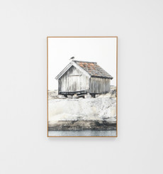 Rustic Boathouse Framed Canvas