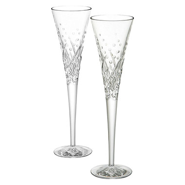 Exude uplifting looks at your wedding or engagement with the graceful crystal Celebration Happy Flute (Set of 2) from Waterford.  Made from crystal for exceptional, lasting quality and refined good looks Delicate cuts create a sparkling effect for contemporary elegance Perfect for celebrating or enjoying champagne with dinner Match with other drinkware from the Celebration range from Waterford for a coordinated look Gift boxed to make the perfect present for any special occasion Includes two year pattern and breakage replacement warranty for your peace of mind Includes two glasses for a complete set