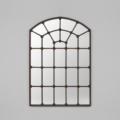 ARCHED GATE MIRROR.  THIS DARK ANTIQUE SILVER MIRROR FEATURES A CLASSICAL SYMMETRICAL OVERLAY.  PERFECT FOR A BOLD STATEMENT.  AVAILABILITY: USUALLY SHIPS IN 2-4 WEEKS.  DIMENSIONS: 104W x 152H (CM)