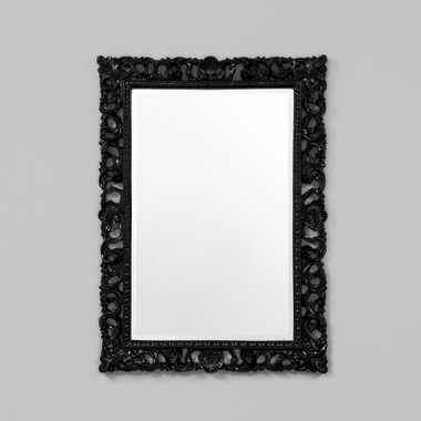AMELIE MIRROR GLOSS BLACK.  WITH A DETAILED SCROLL FRAME FINISHED IN GLOSS, THIS MIRROR IS PERFECT FOR TRADITIONAL OR CHIC INTERIORS.  AVAILABILITY: USUALLY SHIPS IN 2-4 WEEKS.  DIMENSIONS: 76W x 106H (CM)