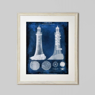 FRAMED PRINT: LIGHTHOUSE BLUEPRINT.  INDIGO BLUE LIGHTHOUSE PRINT SET IN WHITE WASH FRAME.  DIMENSIONS: 86W x 102H (CM)  FRAMED IN AUSTRALIA.  AVAILABILITY: USUALLY SHIPS IN 2-4 WEEKS.