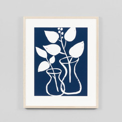 FRAMED PRINT: MODERN VASE INDIGO.  DIMENSIONS: 65W x 78H (CM)  MADE IN AUSTRALIA.  AVAILABILITY: USUALLY SHIPS IN 2-4 WEEKS.