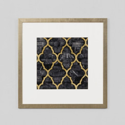 FRAMED PRINT: MOTHER OF PEARL EBONY.  MOROCCAN INSPIRED FRAMED PRINT FEATURING GOLD LATTICE PATTERN ON EBONY BLACK.  ONE OF A SET OF FOUR.  DIMENSIONS: 50W x 50H (CM)  AVAILABILITY: USUALLY SHIPS IN 2-4 WEEKS.  FRAMED IN AUSTRALIA.