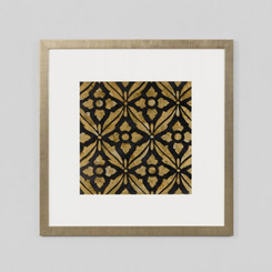 FRAMED PRINT: MESEUM EBONY.  MOROCCAN INSPIRED FRAMED PRINT FEATURING GOLD CLASSIC PATTERN ON EBONY BLACK.  DIMENSIONS: 50W x 50H (CM)  AVAILABILITY: USUALLY SHIPS IN 2-4 WEEKS.