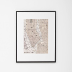 FRAMED PRINT: NEW YORK CITY.  FRAMED VINTAGE STYLE MAP OF NEW YORK CITY, USA.  DIMENSIONS: 70W x 88H (CM)  AVAILABILITY: USUALLY SHIPS IN 2-4 WEEKS.