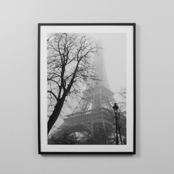 FRAMED PRINT: PARIS BLACK AND WHITE.  BLACK AND WHITE PHOTOGRAPHIC FRAMED PRINT OF THE EIFFEL TOWER IN PARIS.  DIMENSIONS: 85W x 114H (CM)  FRAMED IN AUSTRALIA.  AVAILABILITY: USUALLY SHIPS IN 2-4 WEEKS.