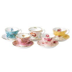 Royal Albert - 100 Years 10pc Cup & Saucer Set 1950's-1990's