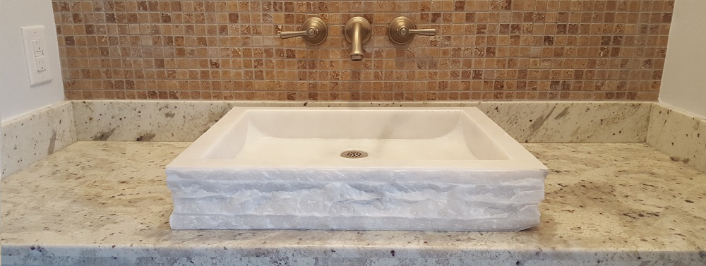TashMart Stone Sinks Chiseled White Marble Rectangular
