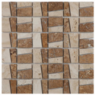 Light and noce travertine mosaic