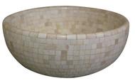 Beige marble mosaic vessel sink