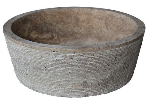Brushed Natural Stone Vessel Sink in Noce Travertine