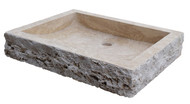 Light Travertine Chiseled Rectangular Sink