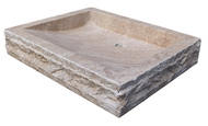 Chiseled Rectangular Sink in Noce Travertine