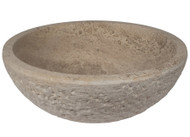 Noce Travertine Chiseled Round Vessel Sink