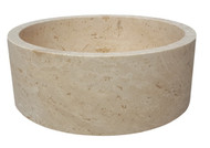 TashMart Cylindrical Natural Stone Vessel Sink in Light Travertine