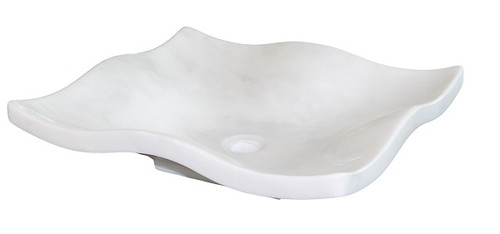 White Marble Flower Petal Vessel Sink