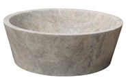 TashMart Tapered Natural Stone Vessel Sink in Antico Travertine