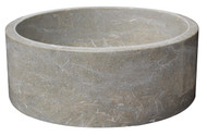 TashMart Cylindrical Natural Stone Vessel Sink in Sea Grass Marble