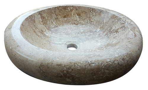 Oval Natural Stone Vessel Sink in Noce Travertine