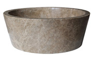Tapered Natural Stone Vessel Sink in Light Emperador Marble
