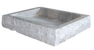 Chiseled Rectangular Sink in Antico Travertine