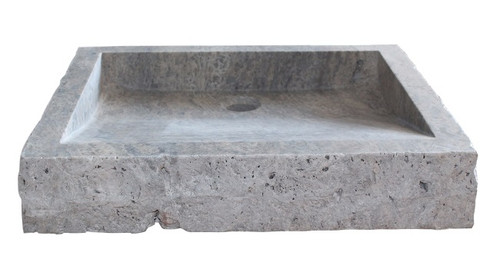 Chiseled Rectangular Sink in Antico Travertine