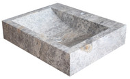 Rectangular Natural Stone Sink in Antico Travertine