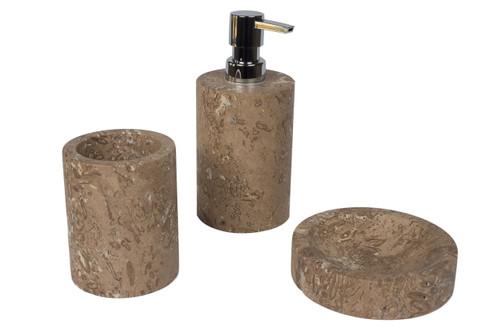 Bathroom accessory set in noce travertine