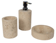 Bathroom accessory set in light travertine