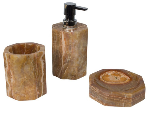 Bathroom accessory set in onyx