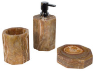 Bathroom accessory set in onyx