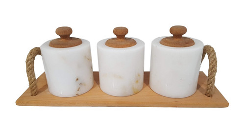 White marble spice set