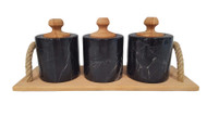 Black marble spice set