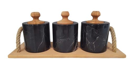 Black marble spice set