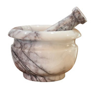 Mixed white marble mortar and pestle set