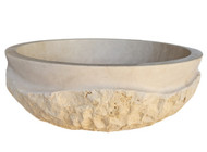 Signature Chiseled Wave Natural Stone Sink in Light Travertine