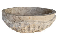 Signature Chiseled Wave Natural Stone Sink in Noce Travertine