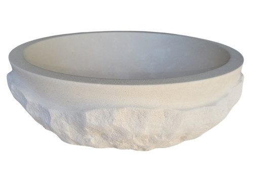 Signature Chiseled Wave Natural Stone Sink in Limestone
