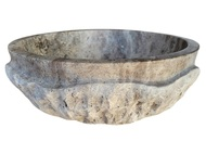 Signature Chiseled Wave Natural Stone Sink in Antico Travertine